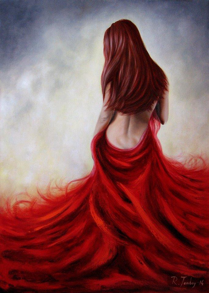 """Женщина в красном. Фантазия"" Масло, холст. 80х60."