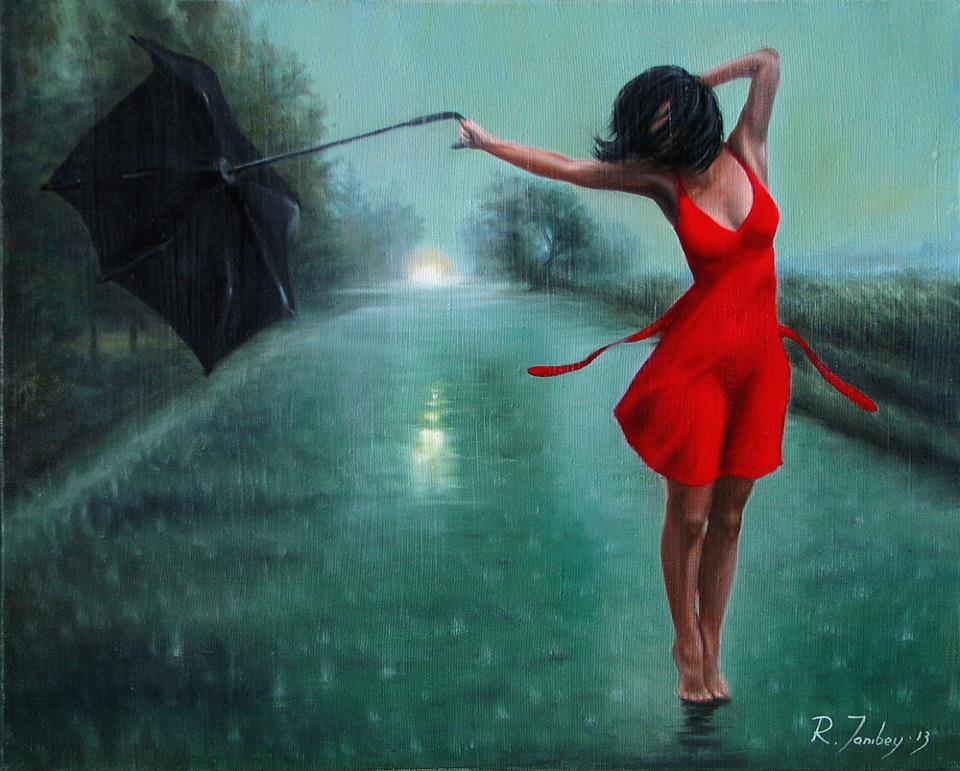 """""""Танцующая под дождем"""" Масло, холст"""