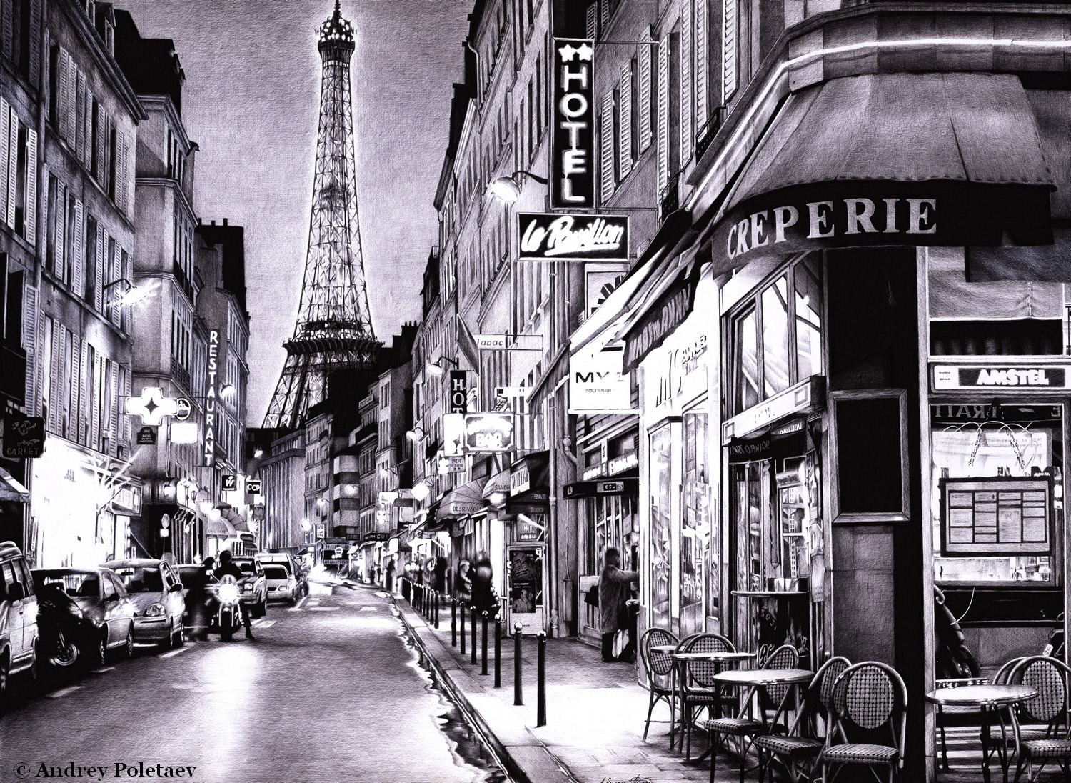 EVENING IN PARIS - Ballpoint Pen - Andrey Poletaev Art