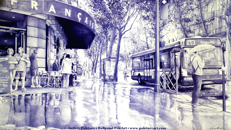 Paris Street - Ballpoint Pen - Andrey Poletaev Art