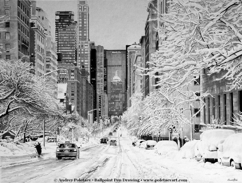 SNOWY NEW YORK - Ballpoint Pen - Andrey Poletaev Art