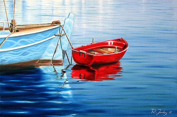"""Красная лодка"" Масло, холст"