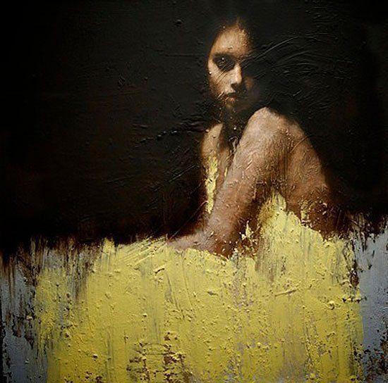 картина современное искусство девушка в желтом платье