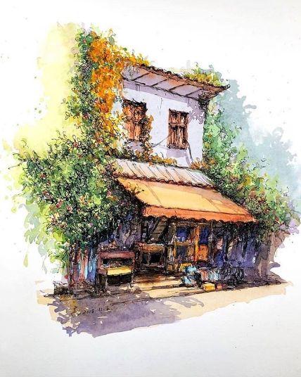 пейзаж картина выполнена акварелью художником из киттая кван ши
