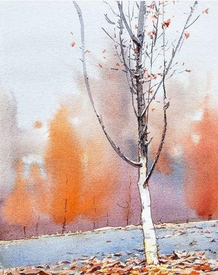 акварель картина художника из китая выполненая акварелью