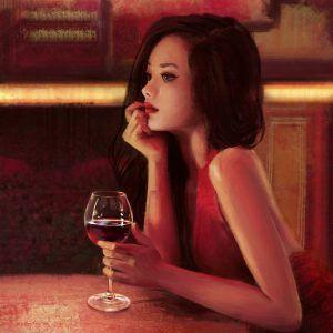 картина современное искусство грустная девушка с бокалом